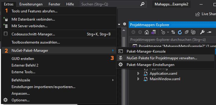 NuGet Paket-Manager in Visual Studio über oberes Menü öffnen