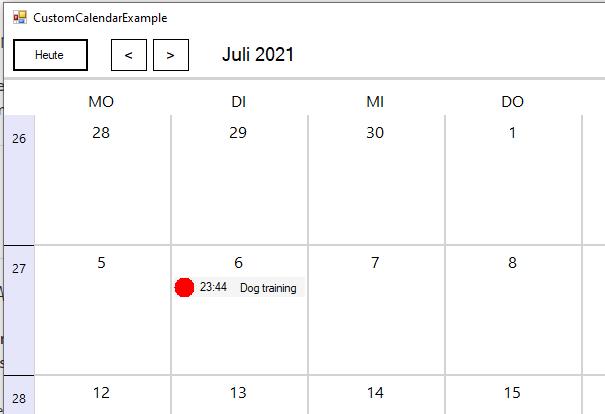 VB.NET Kalender erstellen Zwischenstand – Termine werden angezeigt