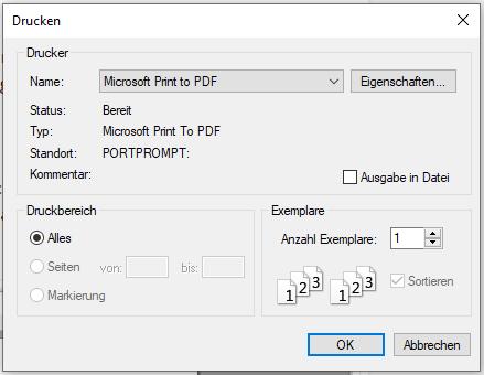 VB.NET PDF erstellen – Windows Druck-Dialog