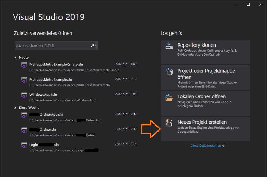 Visual Studio Startfenster