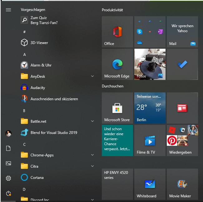 Windows 10 Windows Menü Kachel-Ansicht