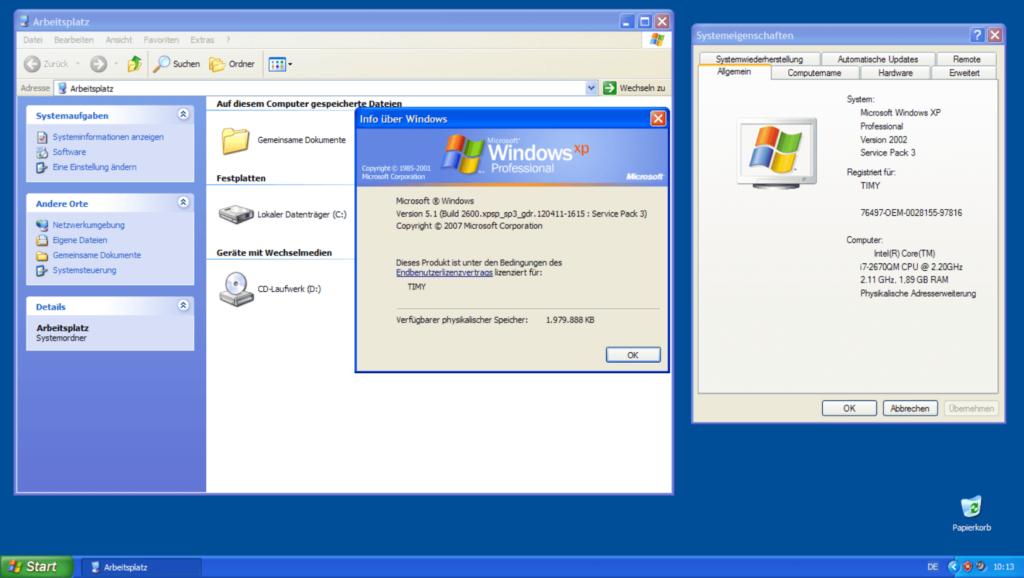Windows XP Oberfläche