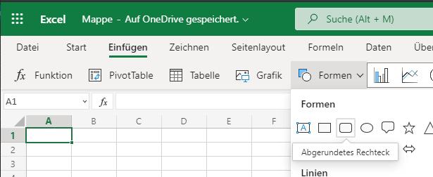 Excel abgerundetes Rechteck einfügen