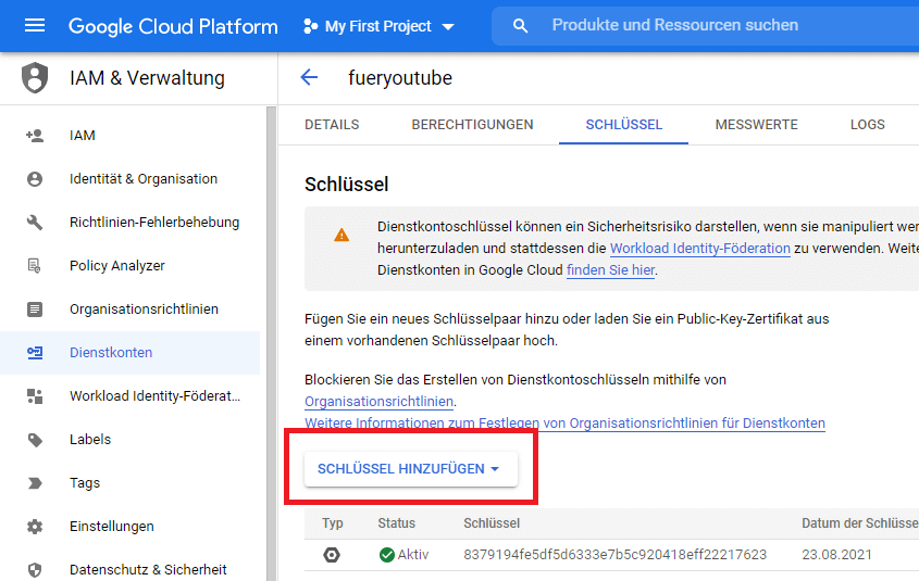 VB.NET Texterkennung auf Bildern - Google Cloud Platform Dienstkonto Schlüssel erstellen
