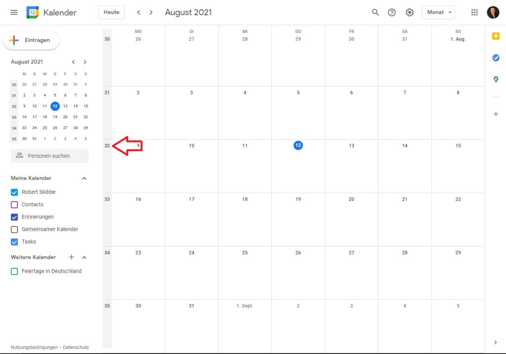 Kalenderwochen im Google Kalender