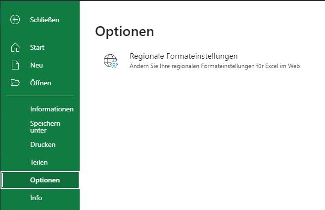 Microsoft Excel Optionen öffnen