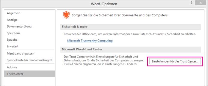 Microsoft Excel Trust Center Einstellungen