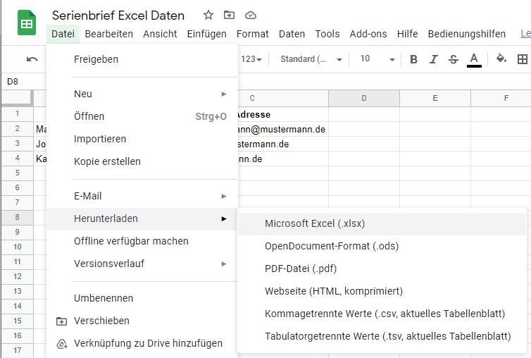 Serienbrief Excel Beispieldaten aus Google Tabelle exportieren