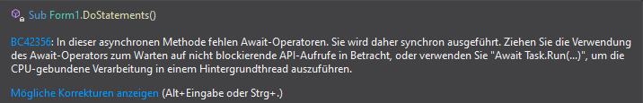 Async DoStatements Methode Fehler - Es fehlen Await Operatoren