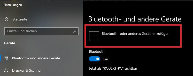 Ein neues Gerät unter Windows via Bluetooth verbinden